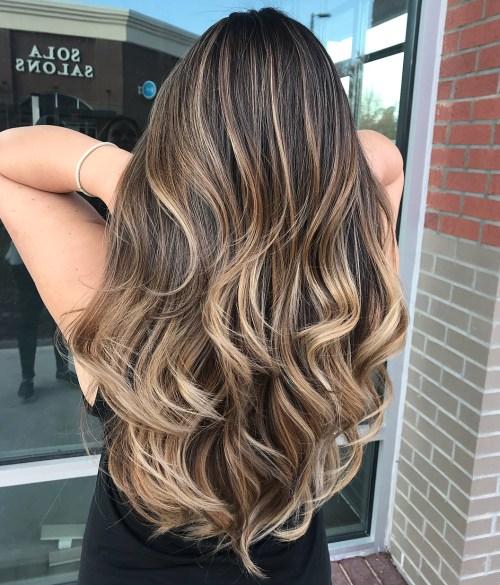 Waist-Length Wavy Bronde Balayage Hairstyle