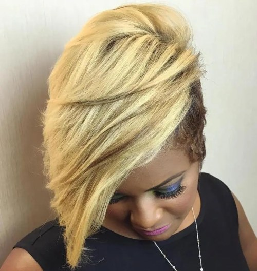 Black And Blonde Short Asymmetrical Haircut