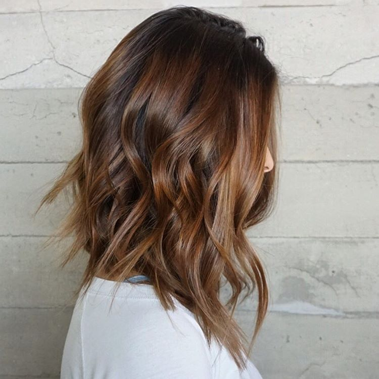 Brown Balayage Mid Length Hairstyle