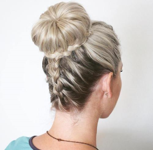 bun and braid prom updo