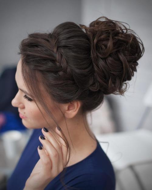 40 most delightful prom updos for long hair in 2017 curly messy bun prom updo pmusecretfo Choice Image