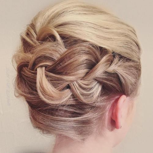 French Roll Updo With A Braid