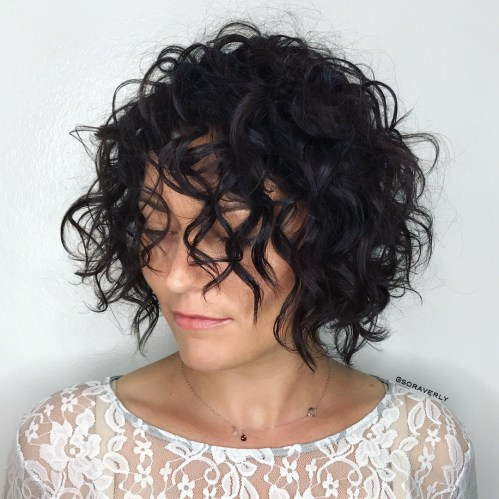 Rounded Messy Curly Bob