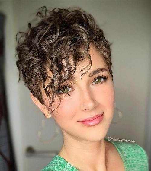 Short Haircut With Bangs For Curly Hair
