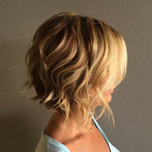 Short Wavy Blonde Bob Hairstyle