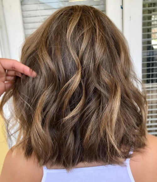 Textured Lob With Waves For Thick Hair