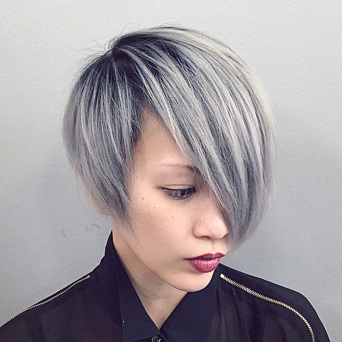 Ash Blonde Asymmetrical Bob