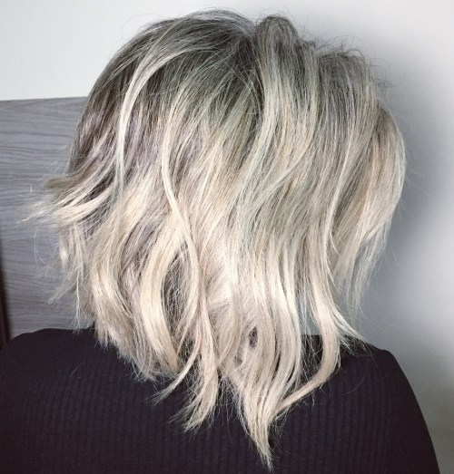 Ash Blonde Choppy Bob With Black Roots