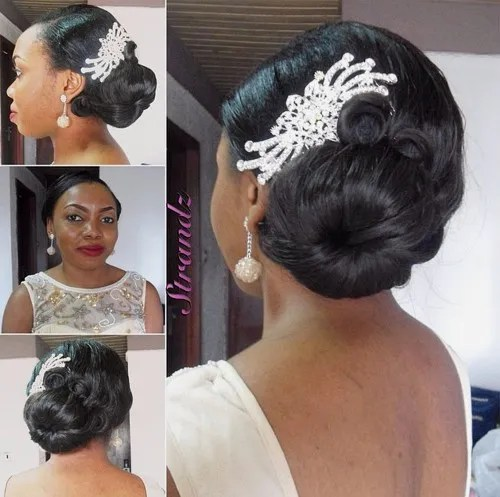 black side bun wedding hairstyle