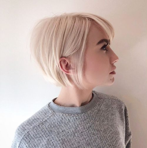 Sleek Blonde Bob With Backcombed Crown