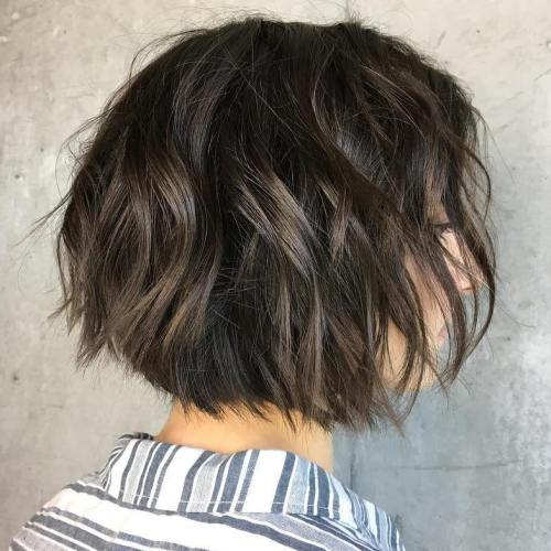 Wavy Brunette Bob With Balayage