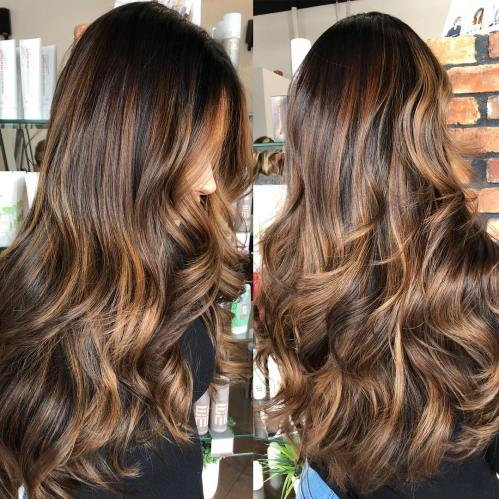 Long Brunette Hair With Caramel Highlights