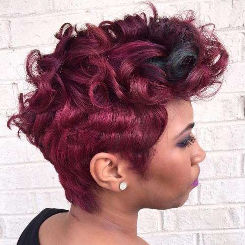 African American burgundy pixie mohawk