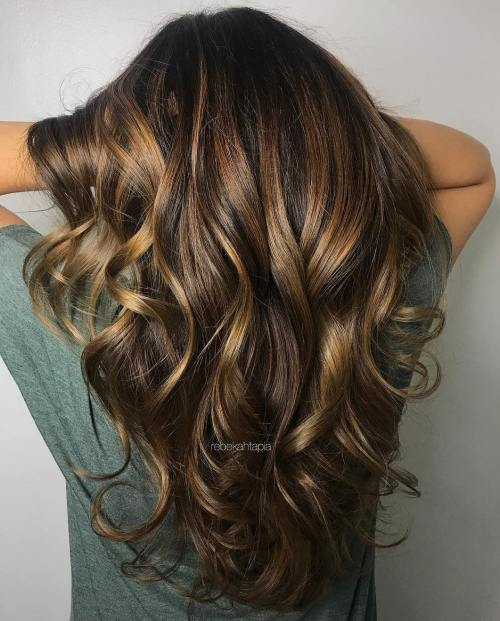 Dark Brown Hair With Chunky Golden Highlights