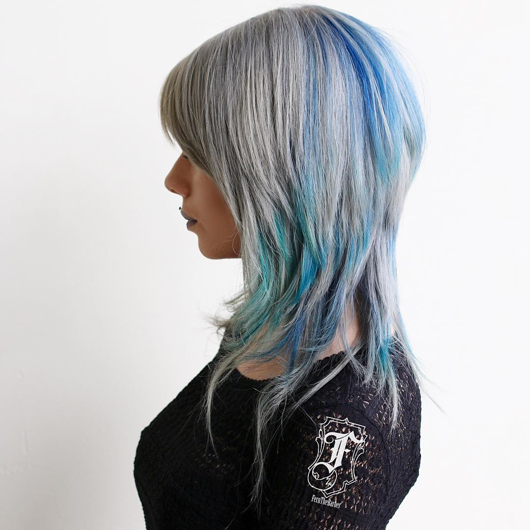 Gray Hairstyle With Blue Highlights