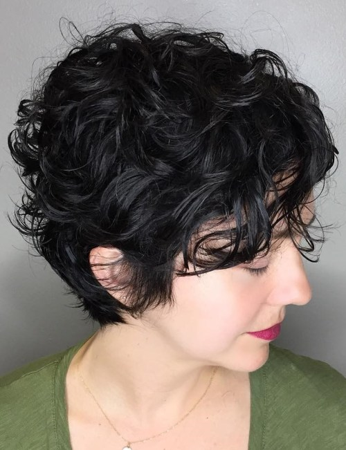 Long Black Pixie With Messy Curls