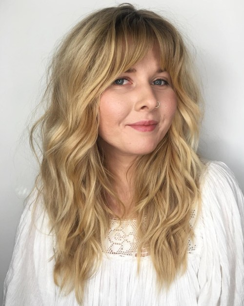 Long Wavy Shag With Bangs