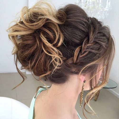 40 most delightful prom updos for long hair in 2017 messy curled updo with a braid pmusecretfo Image collections