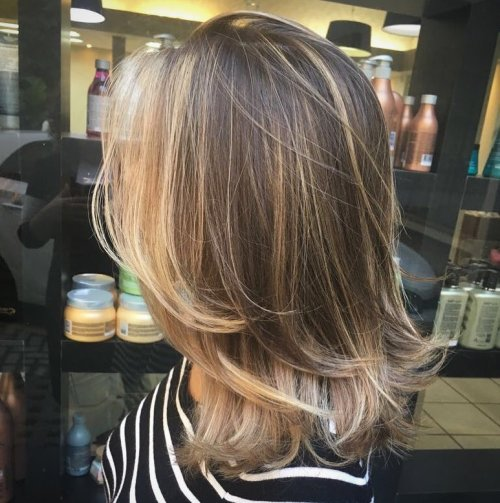 Mid-Length Layered Cut With Face-Framing Balayage