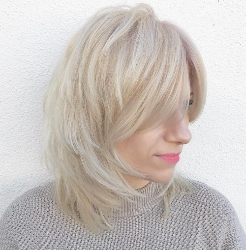 Medium Layered Light Ash Blonde Cut