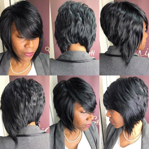 Angled Bob Hairstyle For Black Women