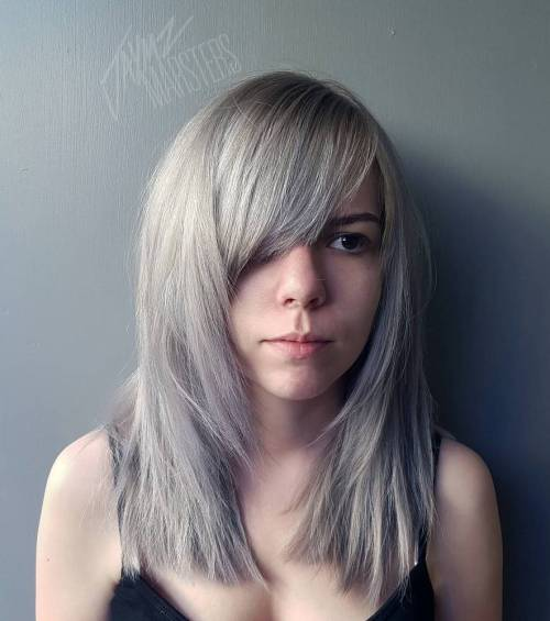 Layered Hairstyles With Bangs long layered haircuts with bangs what makes them amicable to girls long layered Ash Blonde Gray Hairstyle With Bangs