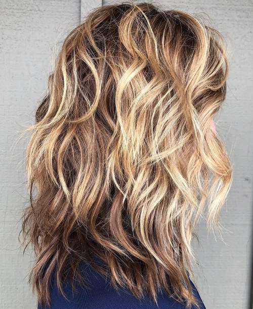 Light Chocolate Shag With Blonde Balayage