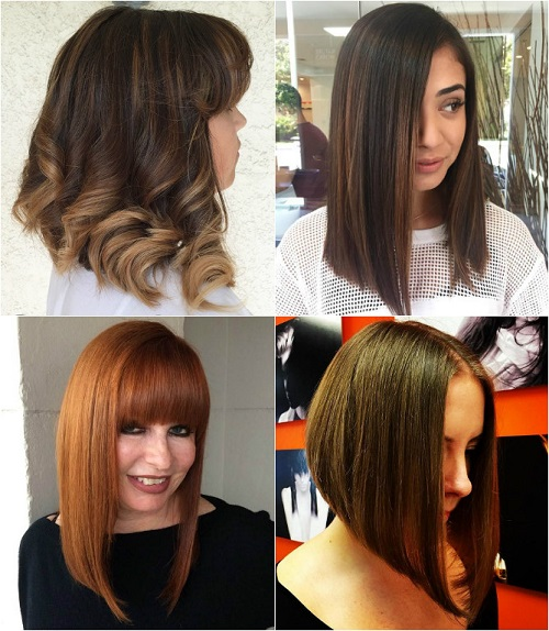 long A-line bob haircut for thick hair