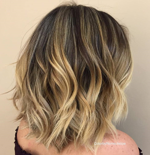 80 sensational medium length haircuts for thick hair in 2017 wavy balayage lob urmus Images