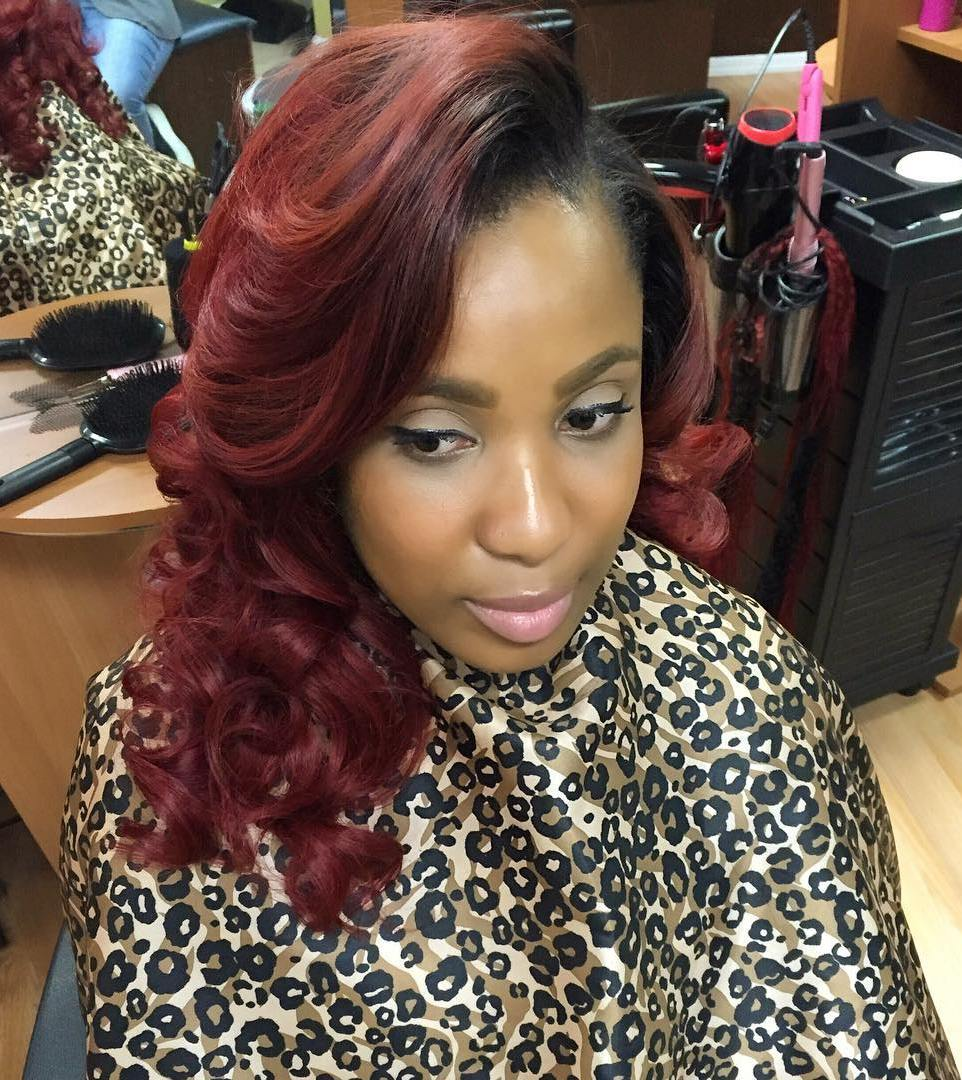 burgundy sew in hairstyle