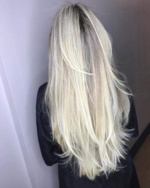 Extra Long Blonde Layered Hairstyle