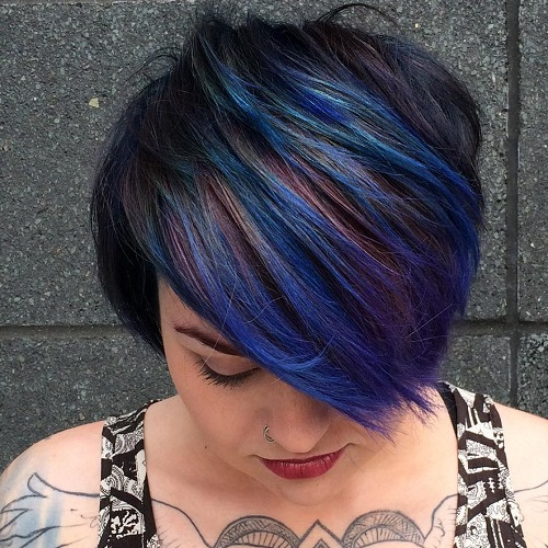 Short Choppy Haircut With Blue Highlights