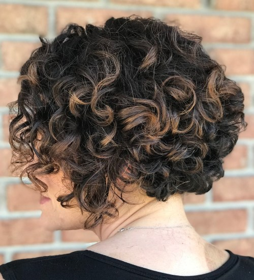 Curly Brown Bob With Highlights