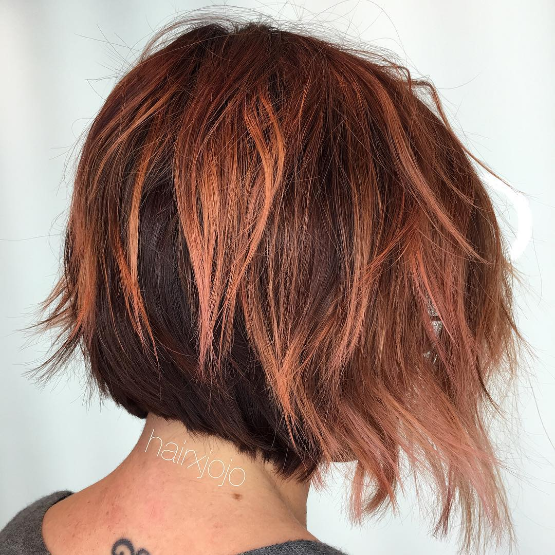 Layered Brown And Rosewood Bob