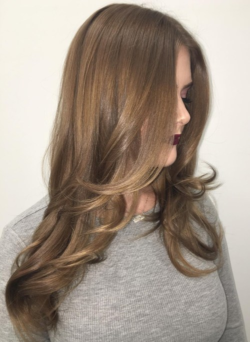 Long Brown Balayage Hairstyle With Layers