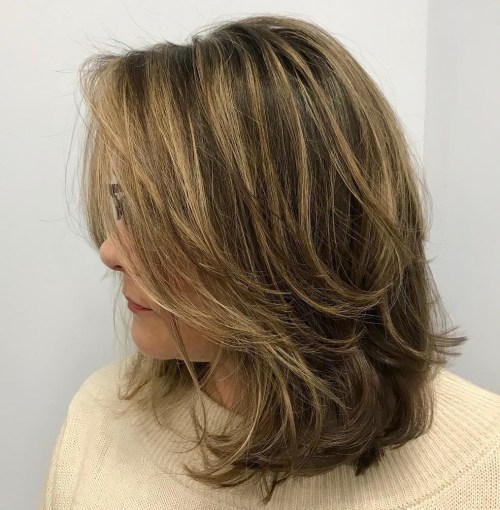 Mid-Length Layered Disheveled Hairstyle