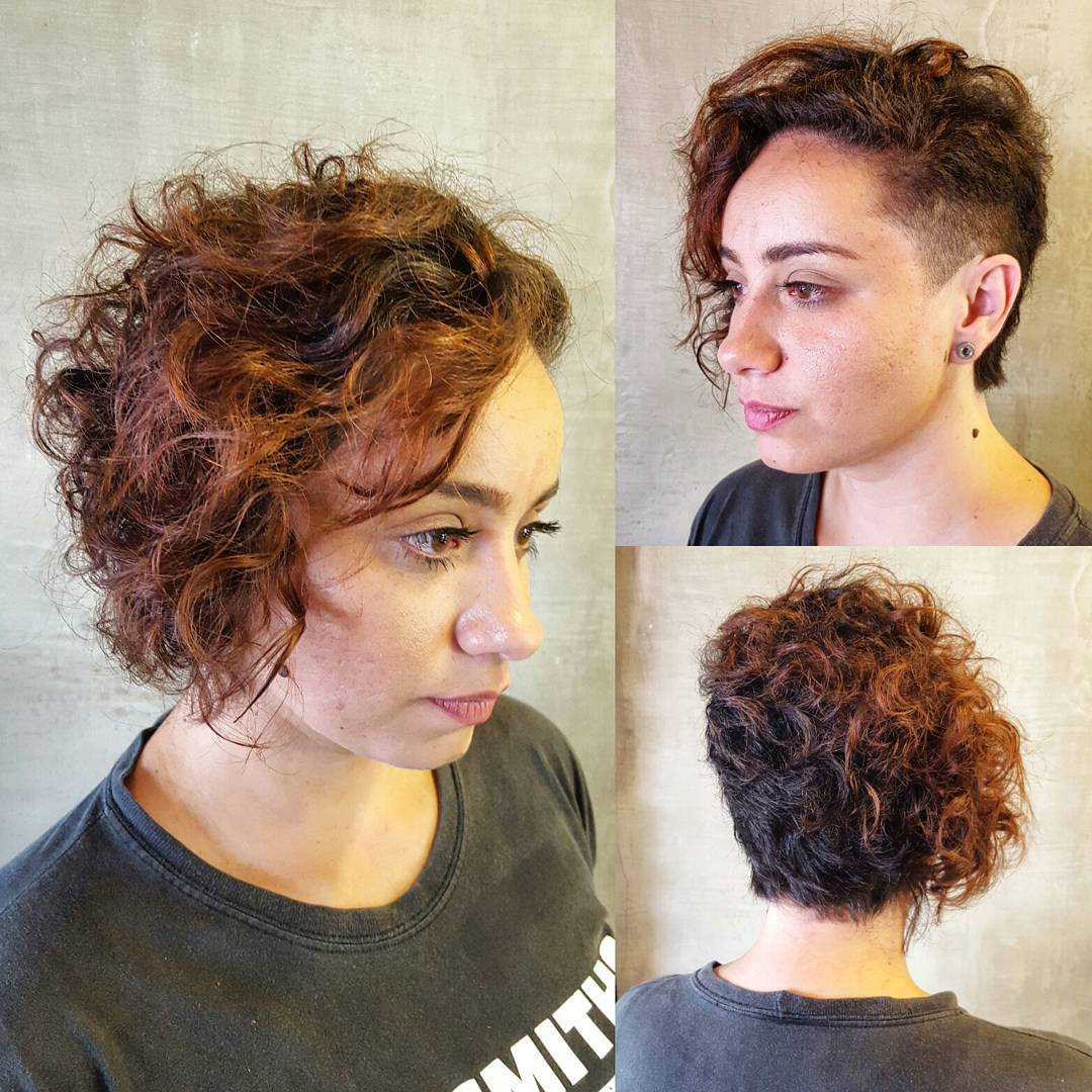 Short Curly Asymmetrical Cut With Undershave