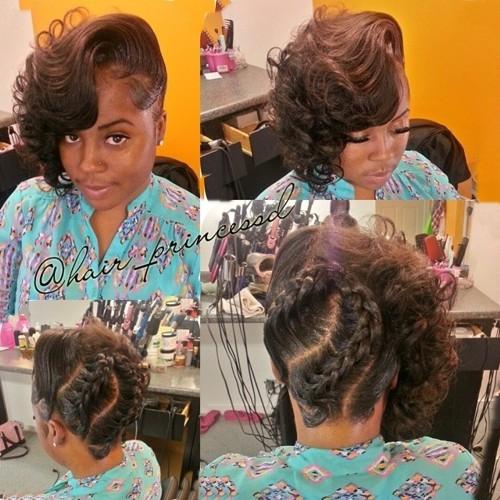 asymmetrical braided updo for African American women