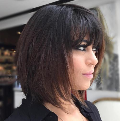 Dark Brown Layered Bob With Bangs