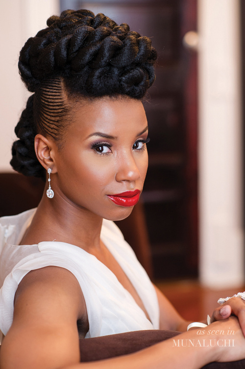 natural updo with twists and cornrows for brides