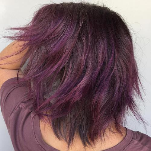 Medium Brown Shag With Purple Ends