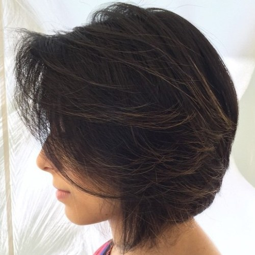 Dark Brown Bob With Babylights