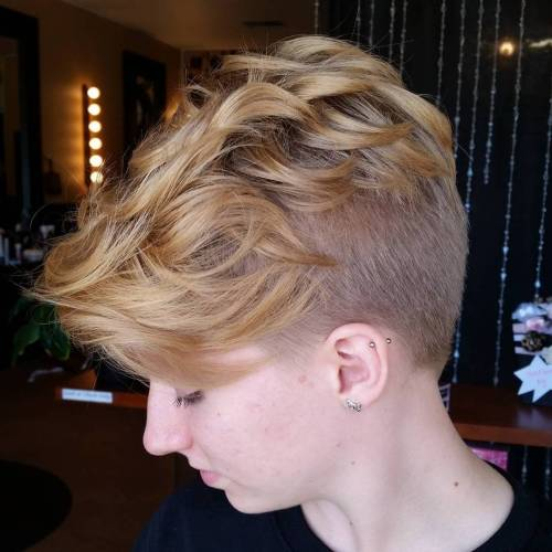 honey blonde pixie undercut