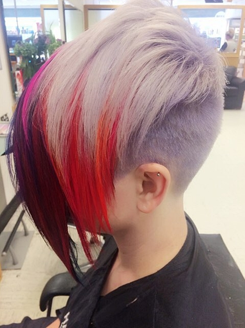 short pixie with extra long colorful bangs