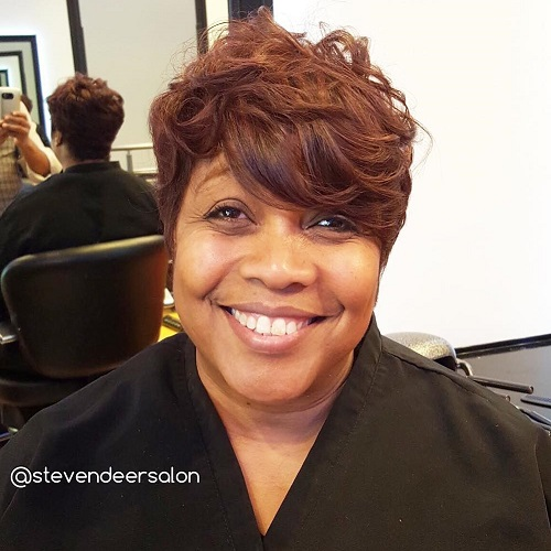 short tousled hairstyle for black women