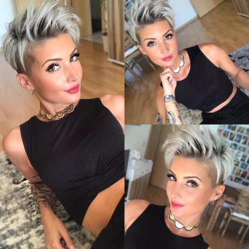 Spiky Gray Pixie With Undercut