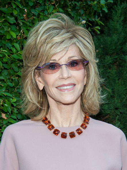 Jane Fonda medium hairstyle with flicks