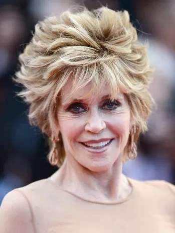 Jane Fonda choppy hairstyle