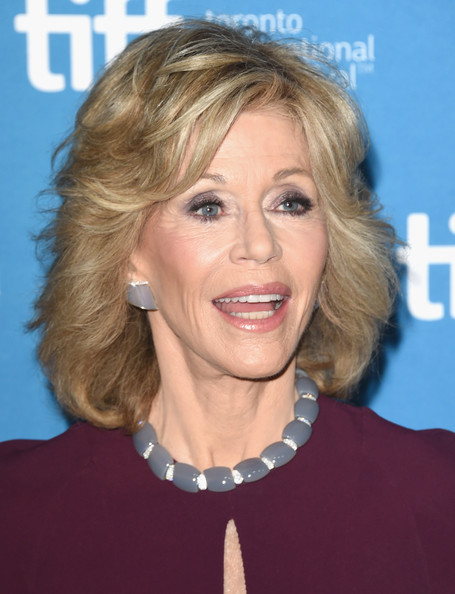 Jane Fonda elegant layered hairstyle