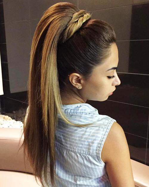 Attractive Formal Pony Hairstyle For Long Straight Hair